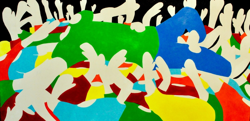 "Crowd Surfing- 48""x24"""